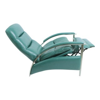 Postmodern Reclining Chair in Teal Leather by Ethan Allen For Sale