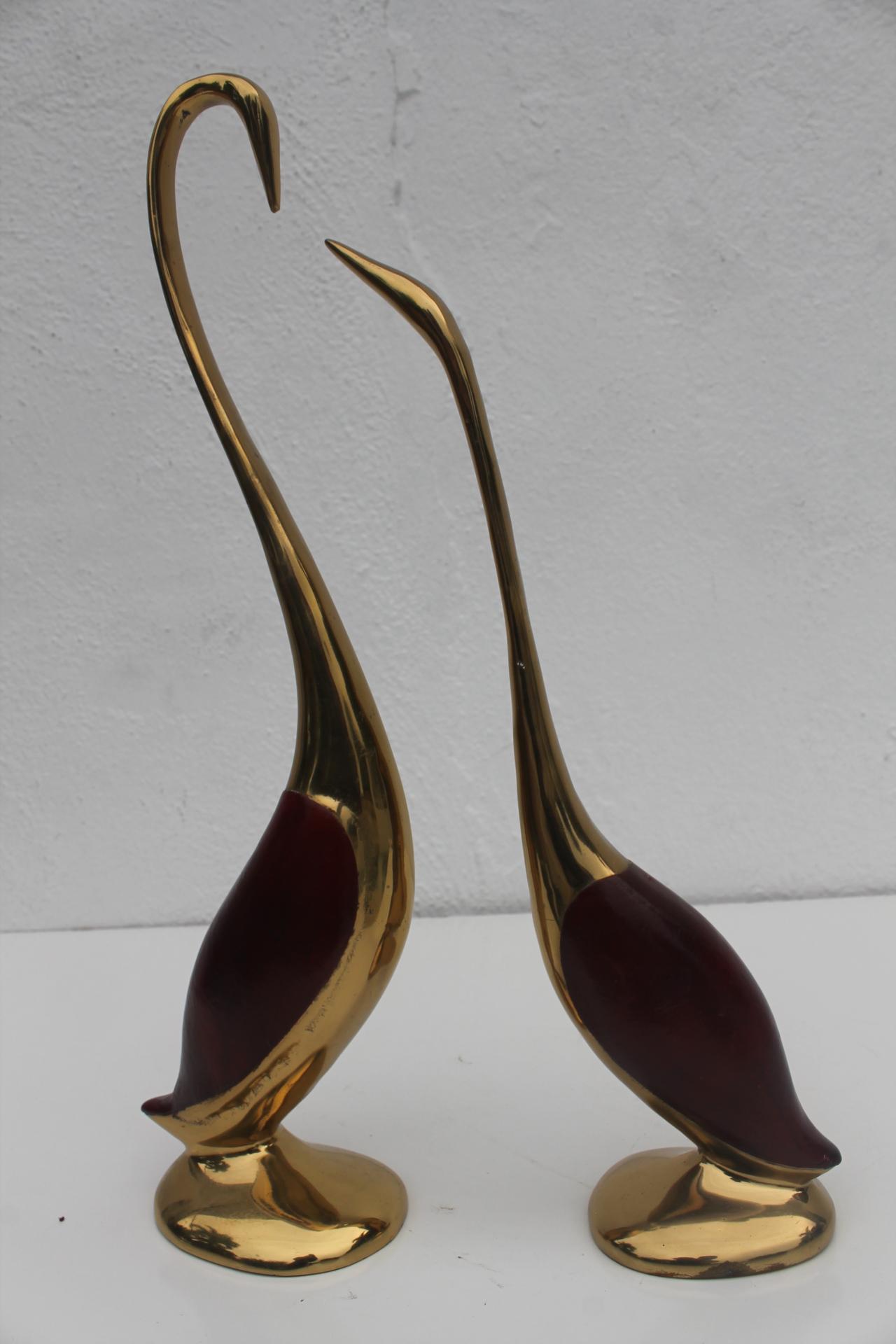 Vintage Brass Cranes Decorative Table Sculptures A Pair   Image 2 Of 7