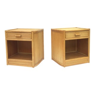 Pair Boho Modern Bamboo Nightstands For Sale
