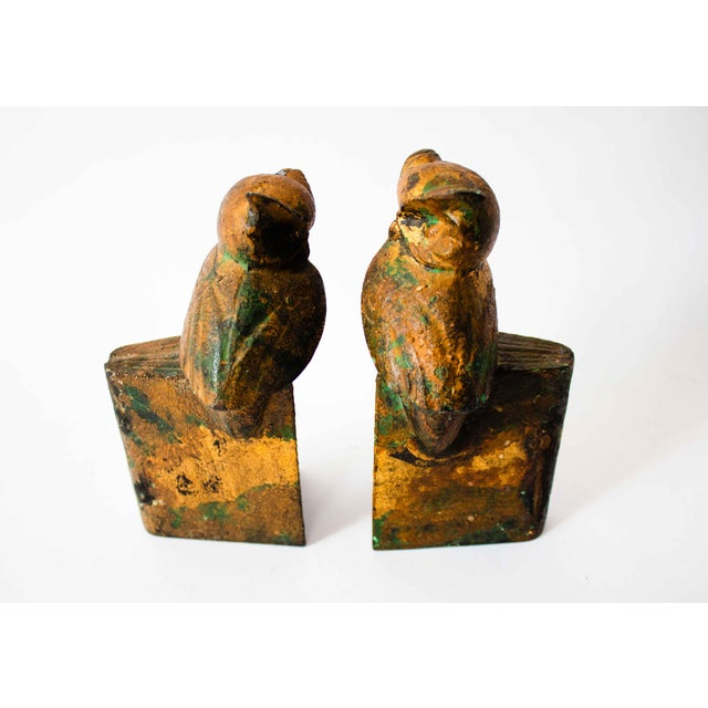 Mid 20th Century Cast-Metal Painted Owl Bookends - a Pair For Sale - Image 5 of 7