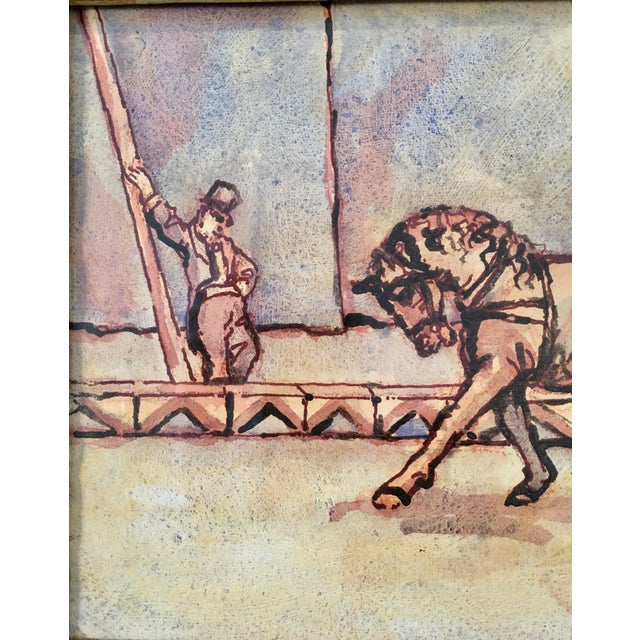 """Mid 20th Century Circus Series """"Bare Back Trick Riding"""" Painting For Sale - Image 5 of 11"""