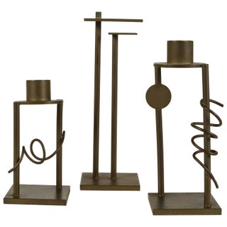Set of Memphis Style Bronze Candlesticks - 3 For Sale