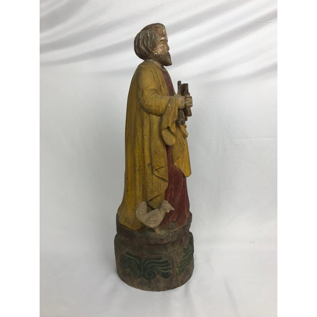 Vintage Carved Wood, Paint & Gesso Santos Statue For Sale - Image 4 of 9