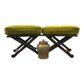Pair of Stanford Furniture Green Velvet Ponder Benches