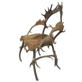Early 19th Century Elk Antler Chair From Germany With Natural Boar Hair Seat For Sale