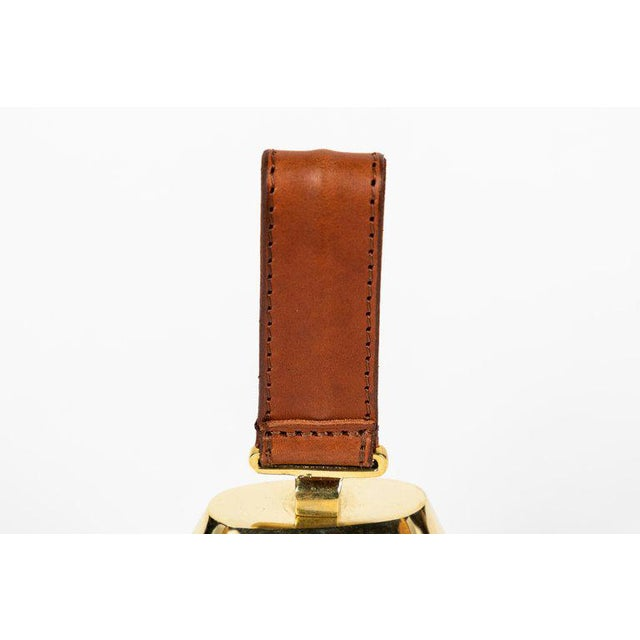Animal Skin Carl Auböck Brass and Leather Bell For Sale - Image 7 of 10
