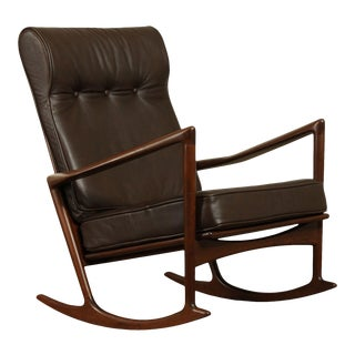 Kofod Larsen For Selig Danish Modern Rocker, Brown Leather For Sale
