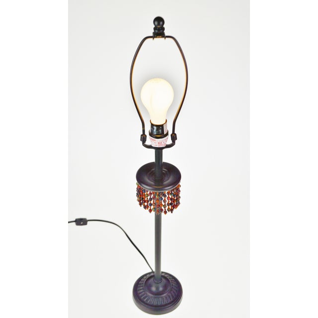 Metal Oil Rubbed Bronze Finish Beaded Candlestick Table Lamp Condition consistent with age and history. Please use zoom...