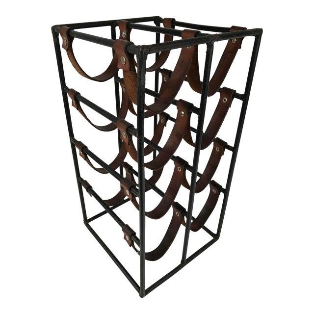 Arthur Umanoff Wrought Iron & Leather Wine Rack - Image 1 of 5