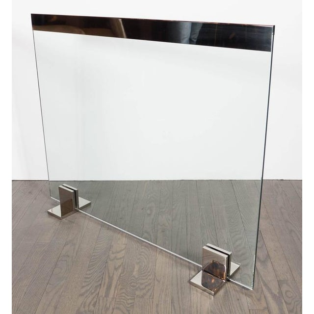Custom Modern Tempered Glass Fire Screen with Polished Nickel Strip and Feet For Sale - Image 4 of 9