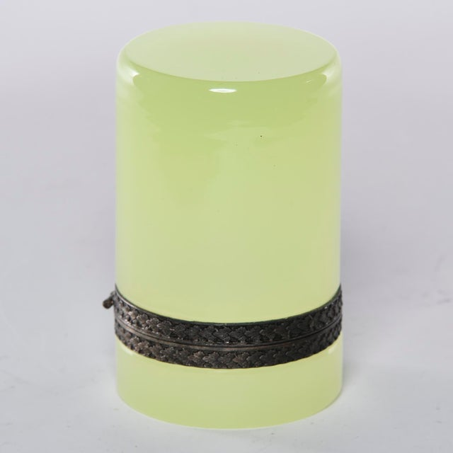 Brass French Opaline Uranium Glass Cylindrical Hinged Box For Sale - Image 7 of 8