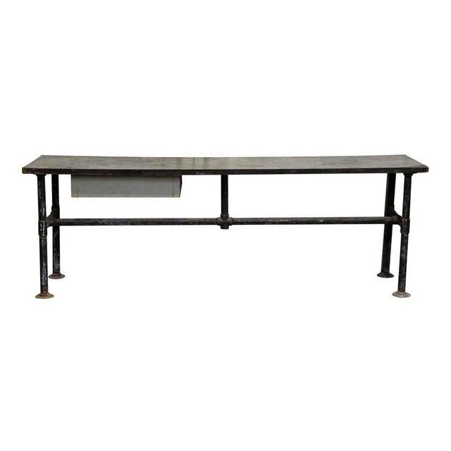 Wood Top Black Metal Work Table For Sale - Image 5 of 10