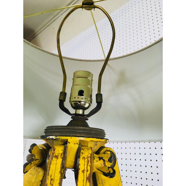 1950s Vintage Red and Yellow Surveyors Tripod Floor Lamp with Linen Shade For Sale - Image 5 of 9