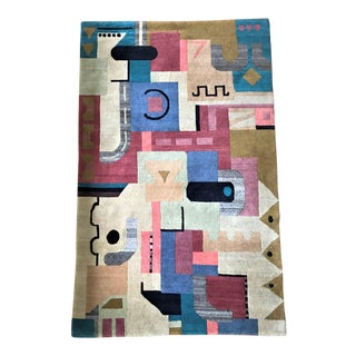 Vibrant Geometric Cut-Pile Wool Rug, C.1970