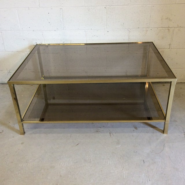 1970s Italian Brass & Smoke Glass Two Tiered Coffee Table For Sale - Image 10 of 10