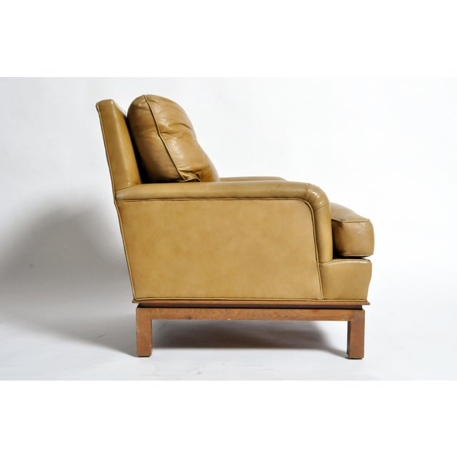 Edward Wormley Mid-Century Modern Green Leather Chair by Edward Wormley For Sale - Image 4 of 11