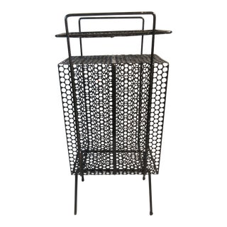 Mid-Century Modern Perforated Wrought Iron Stand W/Pencil Legs For Sale