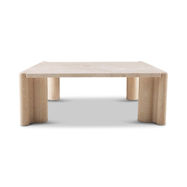 Mid-Century Modern Italian travertine coffee table by Gae Aulenti. The top and the legs come as five separate parts....