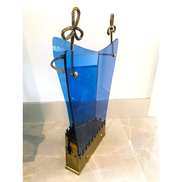 Metal Italian Glass and Gilt Iron Umbrella Stand by Fontana Arte, 1950s For Sale - Image 7 of 13
