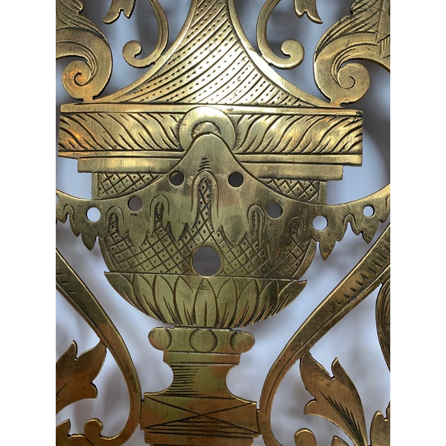 Metal Vintage Pierced and Etched Brass Panels -A Pair For Sale - Image 7 of 13