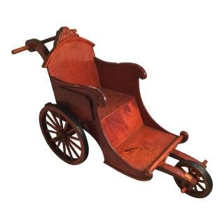 Handcrafted Wooden Rickshaw Model For Sale