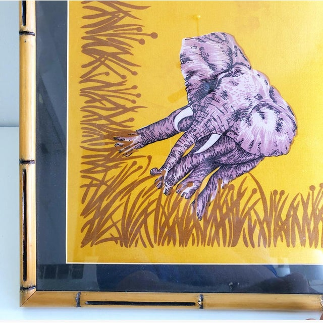 Fabulous large scale vintage safari style printed silk scarf. Framed in an amazing faux bamboo style carved wooden frame....
