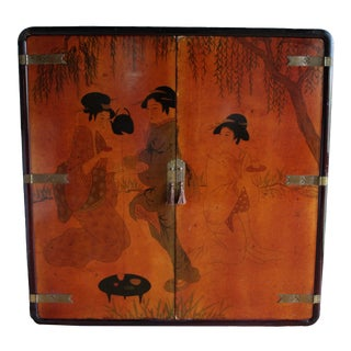 20th Century Antique Japanese Asian Wedding Cabinet Tansu Credenza Bar Hand Painted Geisha Motif Chinoiserie Black Lacquer + Brass For Sale