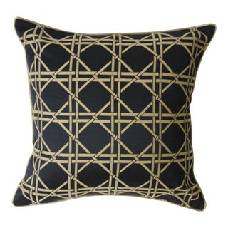 Black & Gold Bamboo Trellis Pillow Cover For Sale