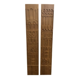 1960s Evelyn Ackerman for Panelcarve Carved Wood Wall Panels - a Pair For Sale