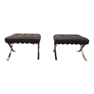K&d Furniture Barcelona Style Brown Bonded Leather Ottomans - a Pair