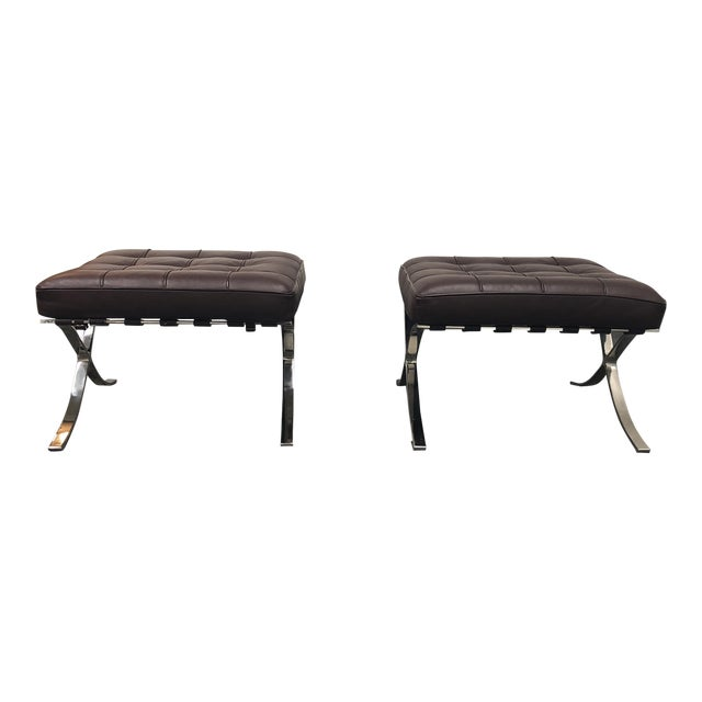 K&d Furniture Barcelona Style Brown Bonded Leather Ottomans - a Pair - Image 1 of 7