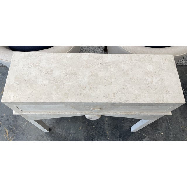 Art Deco - Post Modern Limestone Console Table For Sale - Image 4 of 5