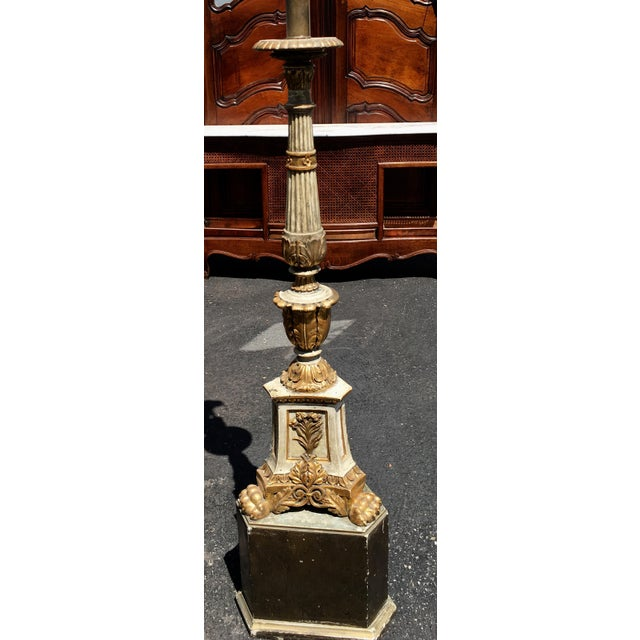 Italian Antique Carved Italian Pricket Floor Lamp w Custom Shade For Sale - Image 3 of 4