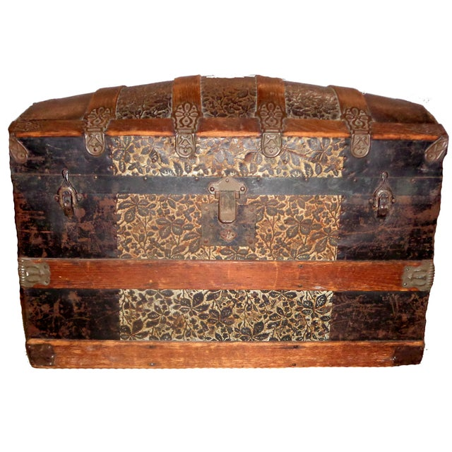 Antique Late 1800s Barrel Top Trunk - Image 1 of 4