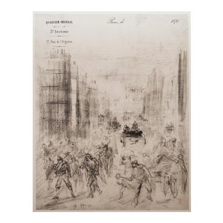 """1959 Lithograph of """"Riots in the Streets of Paris"""" by Jean-Baptiste Carpeaux"""
