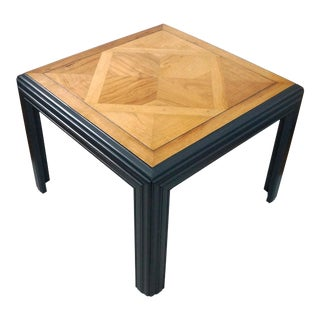 1970s Parquet Top Lane Side Table For Sale