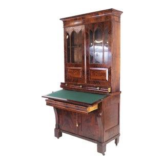 Antique 1800's Federal Empire Secretary Desk Bookcase For Sale