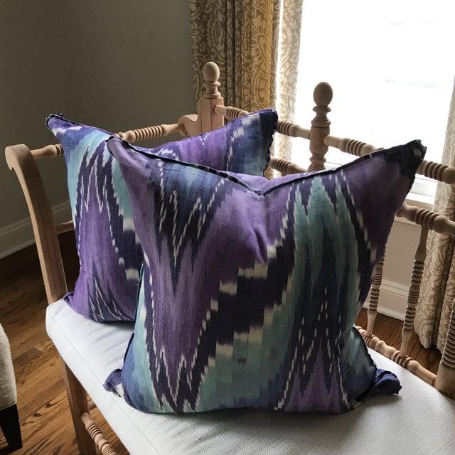 Ikat Butterfly Linen Pillows - A Pair - Image 9 of 9
