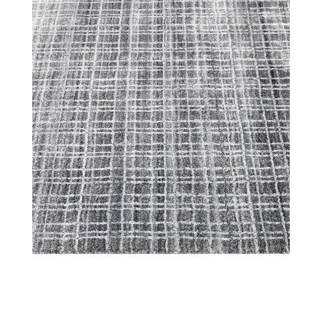 Wesley, Contemporary Modern Loom Knotted Area Rug, Charcoal, 4 X 6 For Sale - Image 4 of 10