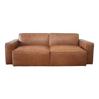 Brown Leather Modern Square Sofa 2 Available For Sale