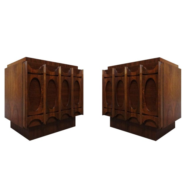 Mid-Century Lane Brutalist Style Walnut Nightstands - A Pair - Image 1 of 4