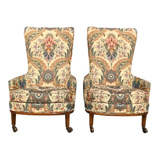 Vintage Boho Chic Floral Wing Back Accent Club Chairs - a Pair For Sale