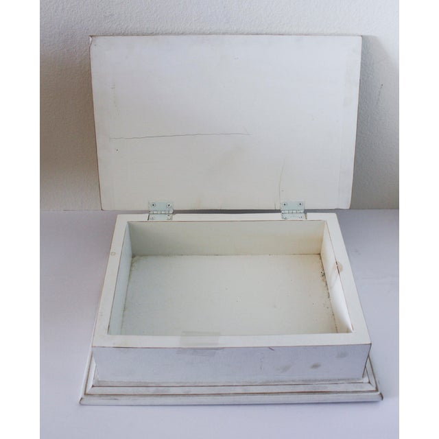 Vintage White Wooden Box With Bow Detaililng For Sale - Image 4 of 5
