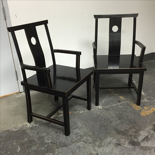 Black Solid Wood Lacquered Chairs - A Pair - Image 3 of 10