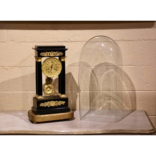 French 19th Century French Empire Portico Mantel Clock in Original Glass Dome For Sale - Image 3 of 12