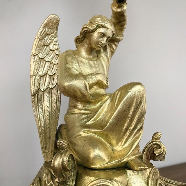 Mid 19th Century Pair 19th Century Bronze Candlesticks With Angels ~ Napoleon III Period For Sale - Image 5 of 13