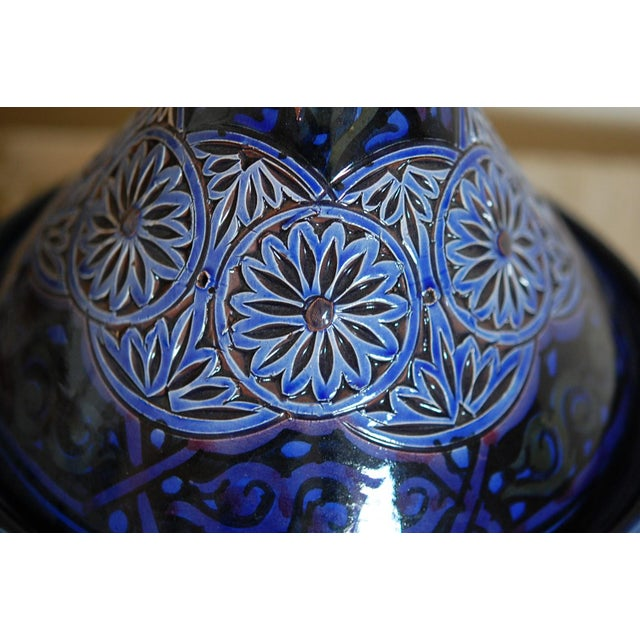 Handcrafted Blue Moroccan Tagine Ceramic Pot - Image 5 of 6