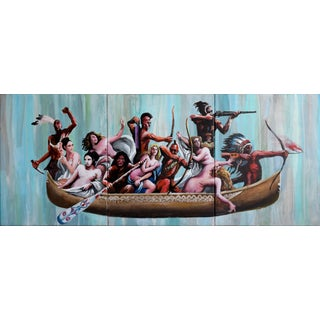 """Paint Sketch, Myth of the Nubile Captives"" Geoff Greene Triptych For Sale"