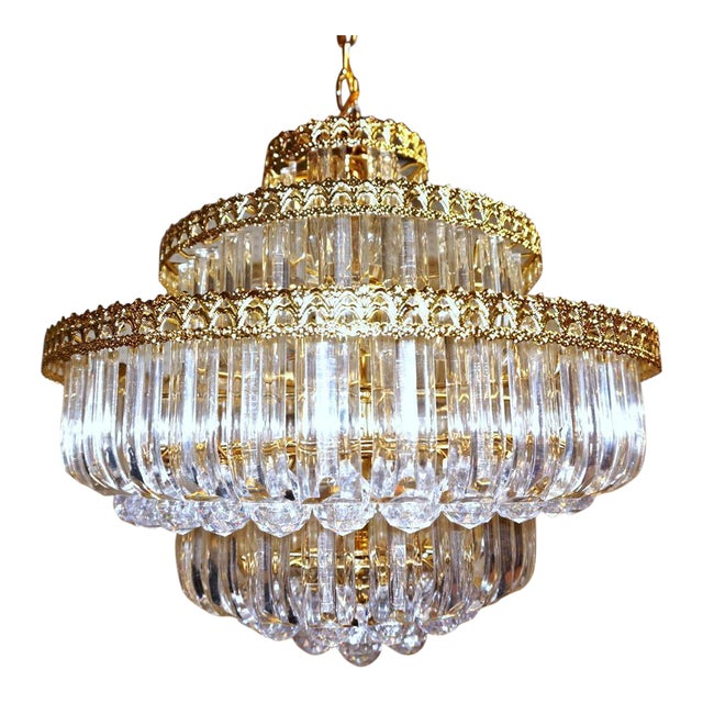 6-Tier Brass Lucite Chandelier Hanging Ceiling Light Fixture Lamp Shade Modern For Sale