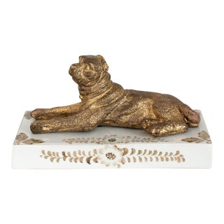 Maitland Smith Bronze and Porcelain Dog Sculpture For Sale